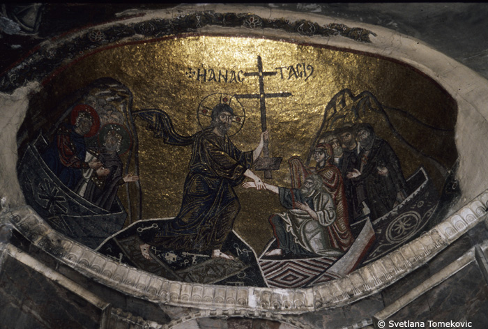Mosaic, showing Christ: Harrowing of Hell in apse dome