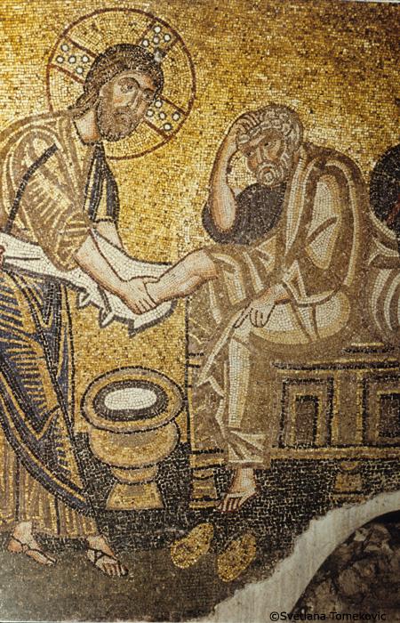 Mosaic, showing detail of Washing of Feet