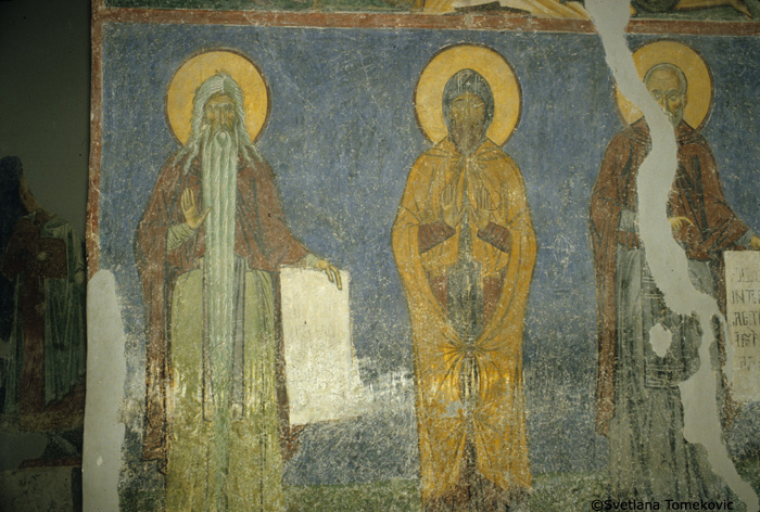 Fresco, nave, north arm, west wall, showing Macarius of Egypt and monk saints