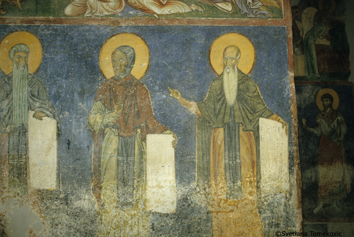 Fresco, nave, west wall showing Arsenius of Scete and monk saints
