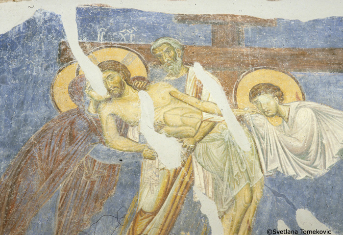 Fresco, nave, north arm west wall, showing Christ: Deposition