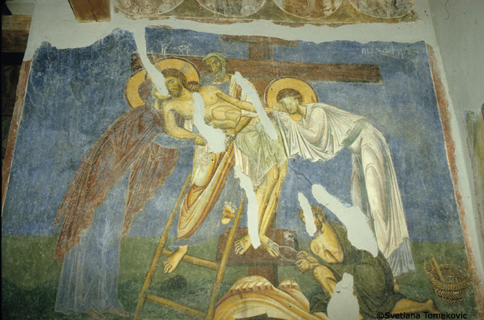 Fresco, nave, north arm west wall, showing Christ: Deposition, detail