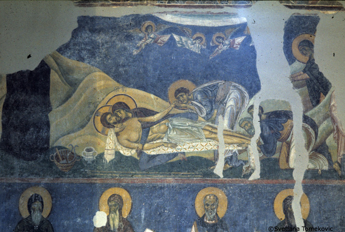 Fresco, nave, north arm, north wall, showing Christ: Bewailing (Lamentation)