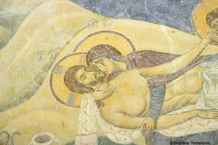 Fresco, nave, north arm, north wall, showing Christ: Bewailing (Lamentation), detail