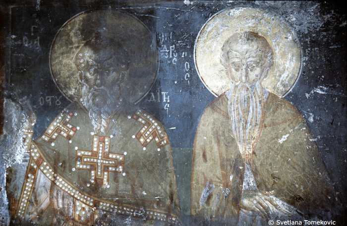Fresco showing Theodore the Studite and bishop<br>Note: Omorphokklisia was formerly known as Gallista