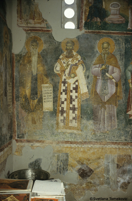 Fresco, north wall, showing Simeon, Sava and Theodore