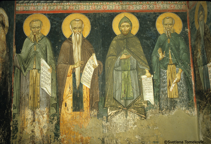 Fresco showing Sabas the Younger, Euthyemius, Ephrem?, and Paul of Latros?