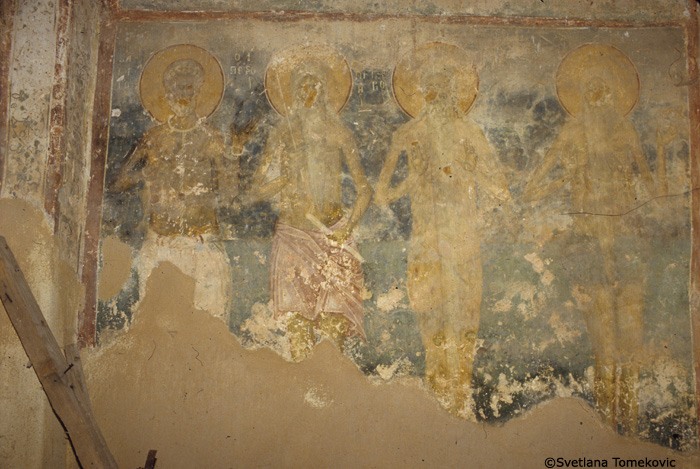 Fresco showing Barbaros, Peter the Hermit (?), Macarius(?), and Eunophre(?)