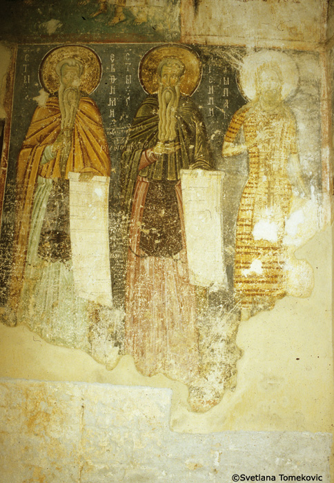 Fresco, narthex, west wall, showing Euthymius the Great, Arsenius of Scete, and Paul the Hermit (Paul of Thebes)