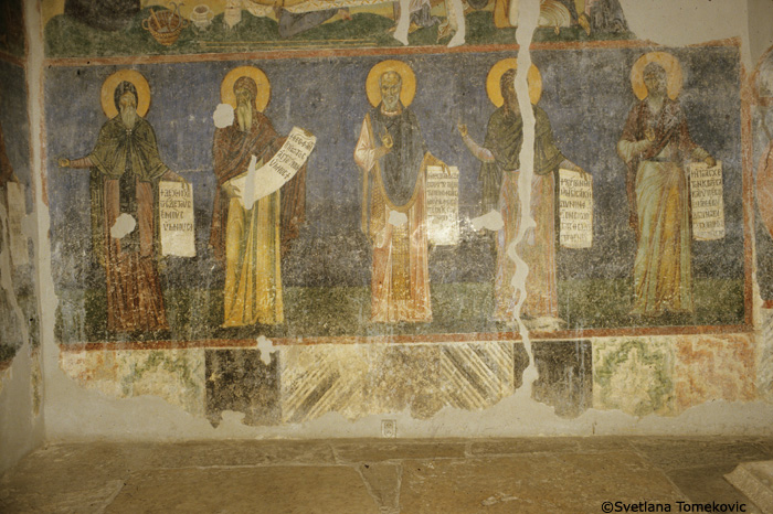 Fresco, north wall, showing Joseph the Hymnographer, Theophanes Graptos, Theodore the Studite, John of Damascus and Cosme