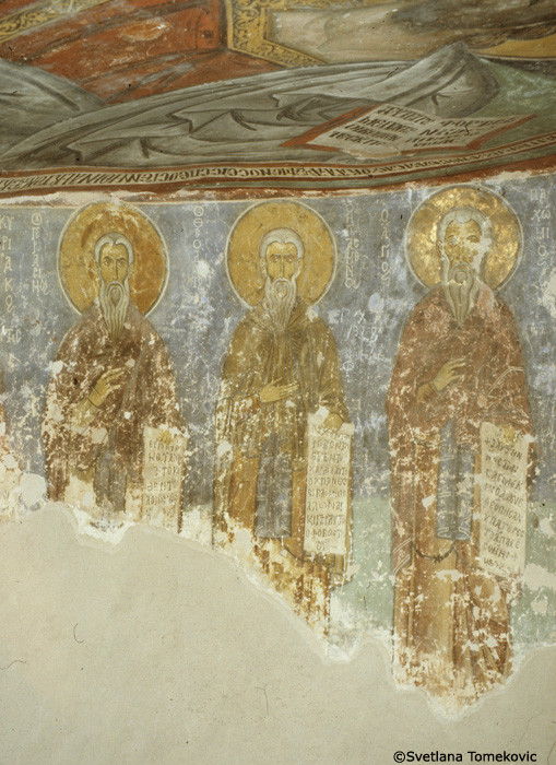 Fresco, west bema, showing Gerasimus, Theodore the Sanctified and Pachomius