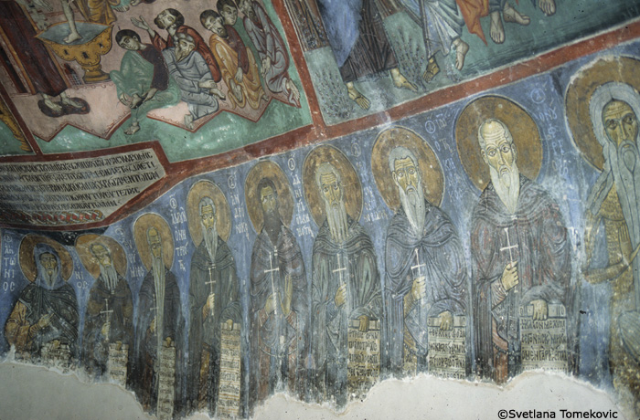 Fresco, naos showing monk saints