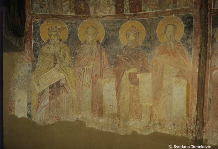 Fresco, south conch showing Arsenius, Sabas, Ephrem, and Theodore of the Studium