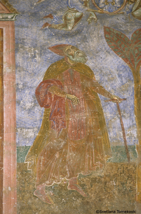 Fresco showing detail of Anthony watching the soul of Paul of Thebes being delivered up to heaven
