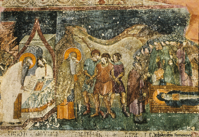 Fresco, Chapel of St. Euthyme, north aisle, north wall, showing Vision of Healing of Demonic Youth and Death