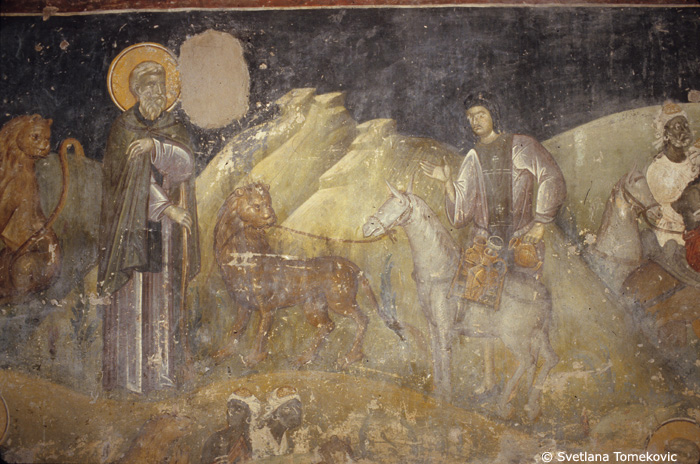 Fresco, south aisle, north wall, showing Gerasimus and Lion: Tending Ass