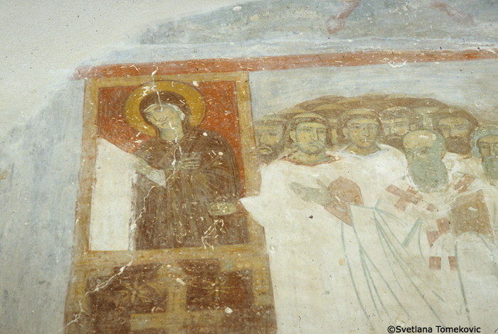 Fresco, north wall, showing Translation of the Relics to Studenica