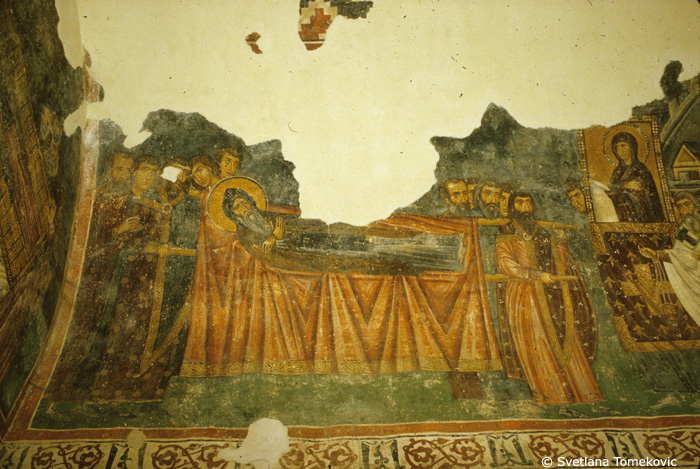 Fresco, narthex, south chapel, north wall showing Stephen Nemanya: Translation of Relics