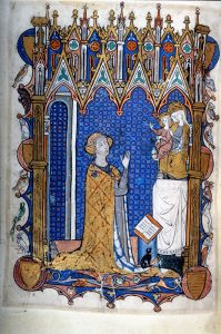 Kneeling female donor in the Yolande de Soissons Psalter-Hours from Northeast France, last quarter 13c. in the Pierpont Morgan Library, M.729, fol. 232v.