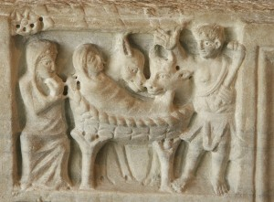 Shepherd at the Nativity. Fourth century sarcophagus. Arles, Musée de l'Arles et de la Provence Antique, FAN.92.00.2517. Index system number 000107697.