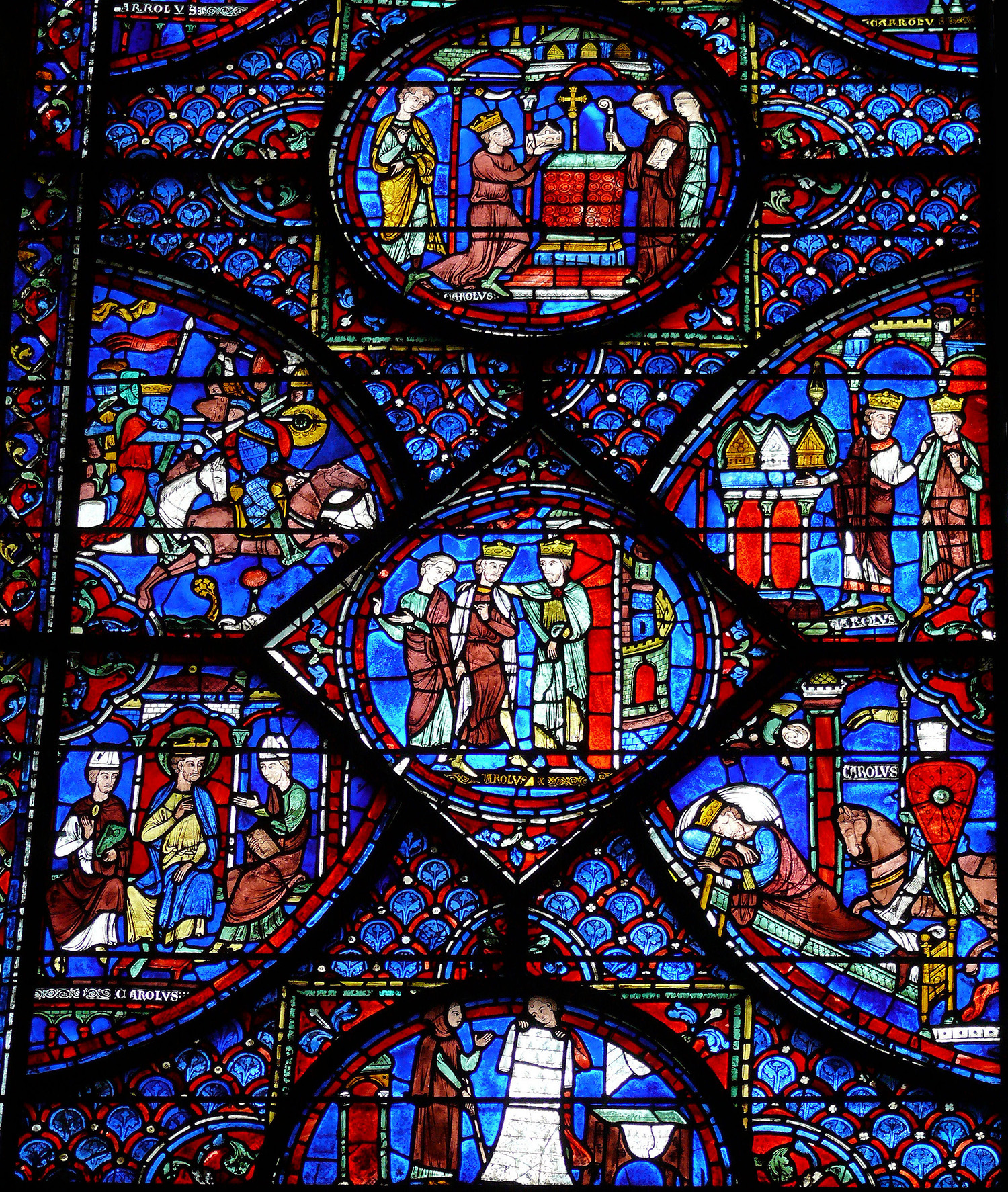 Detail, Charlemagne Window Chartres: Cathedral Early 13th century
