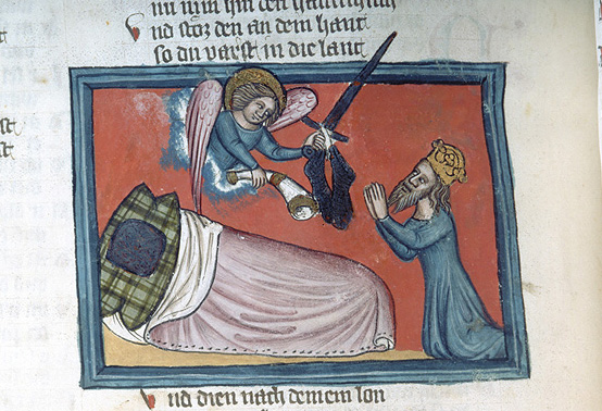 Charlemagne receiving horn and sword New York: Library, Morgan Library, M.769 fol. 388v c. 1360
