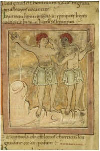 Ethiopians, Wonders of the East, Winchester, c. 1050, British Library Cott. Tib. B. V.