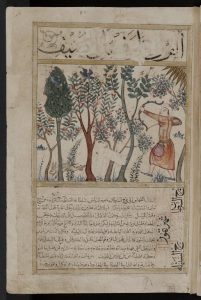 Illustration of Summer for the Four Seasons in the Arabic Miscellany Kitab al-Bulhān, dated 1390-1450. Oxford, Bodleian Library (Or. 133, fol. 44r). Photograph by The Bodleian Library, University of Oxford (Online collections).