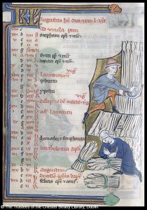Illustration of the Labor of the Month for August in the Bruges Psalter. Dublin, Chester Beatty Library, (W.61). Flemish, c. 1265 - 1275. Photograph by the Index of Christian Art.