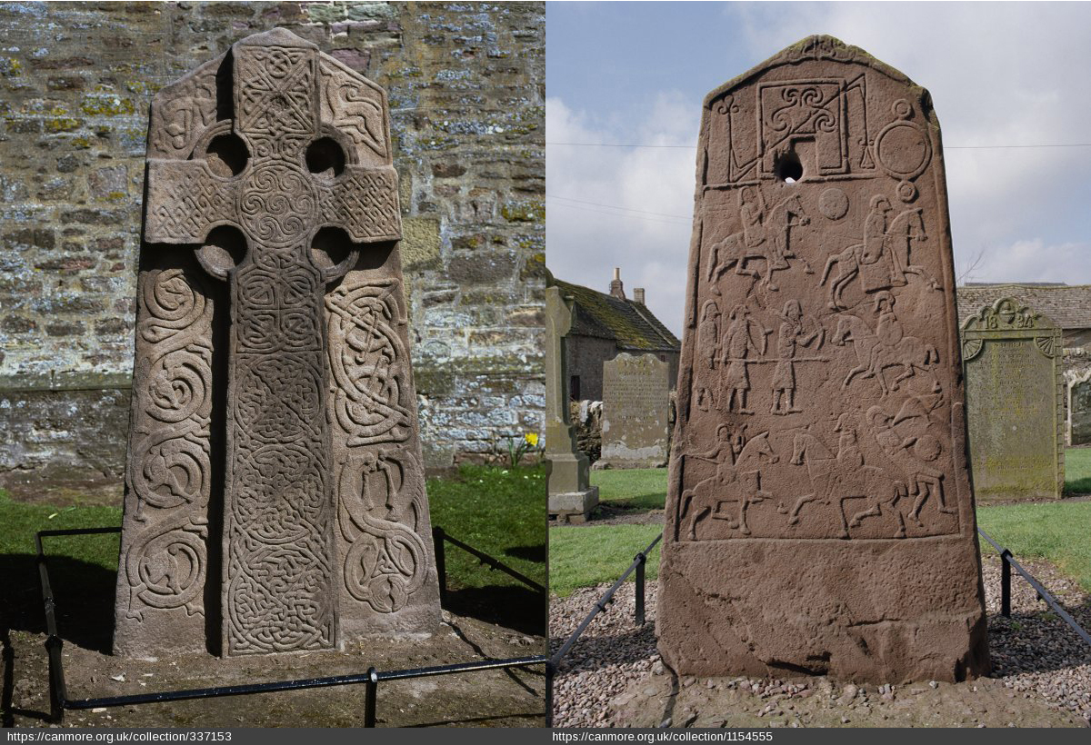 Aberlemno Stone, interlace cross, fantastic animals, two beasts' heads with open jaws, ppiral ornament, Z-shaped rod, disc, and battle scene.