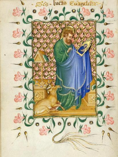 15th c manuscript image of St. Luke painting a panel