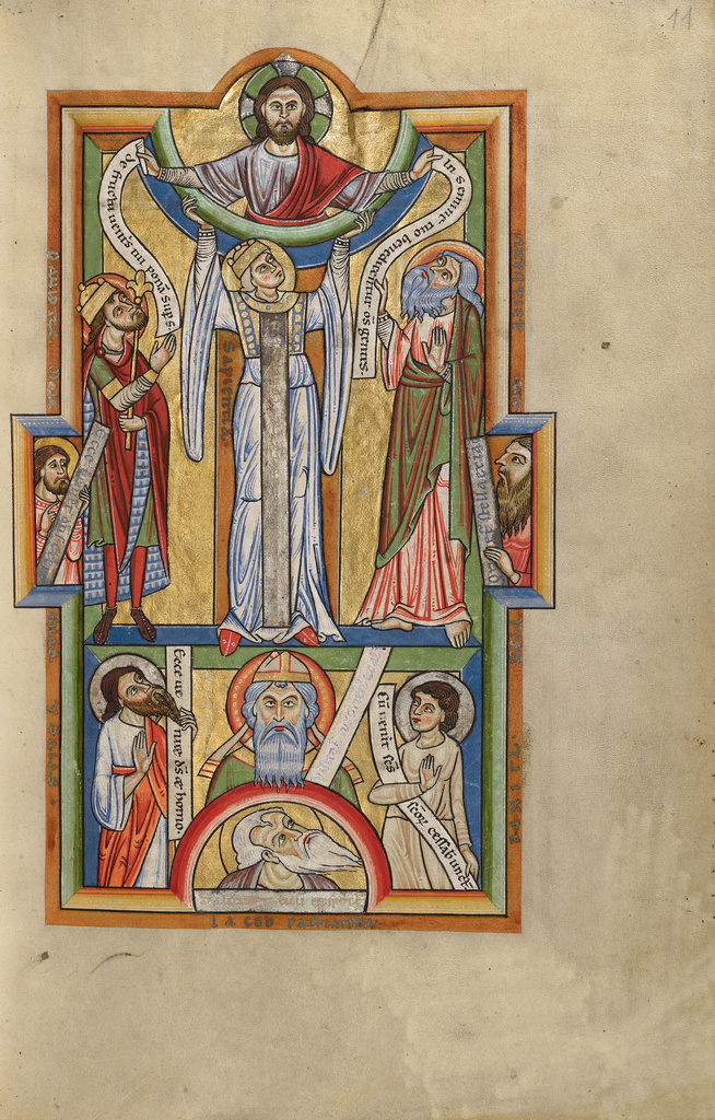 Wisdom supporting the arc of heaven. Stammheim Missal (1170s). The J. Paul Getty Museum, Ms. 64/97.MG.21, fol. 11r.