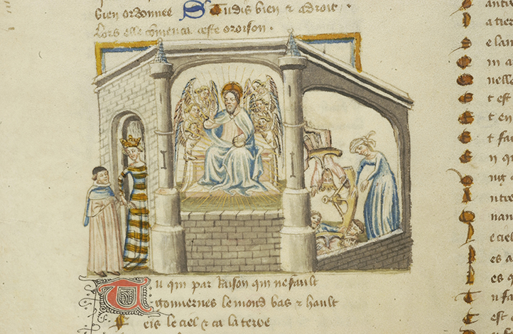 Boethius led by Wisdom to the Throne of God. De consolatione philosophiae (ca. 1430). Morgan Library, M.396, fol. 239v.