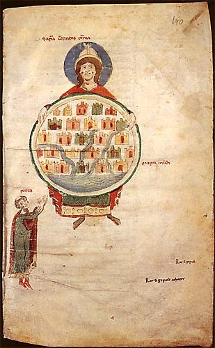 Manuscript illumination depicting a personification of Wisdom holding a mappa mundi