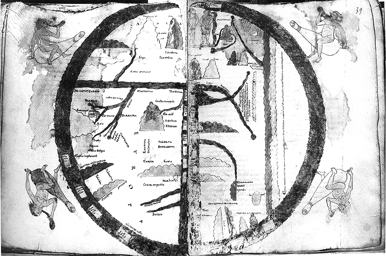 Manuscript illumination depicting a mappa mundi
