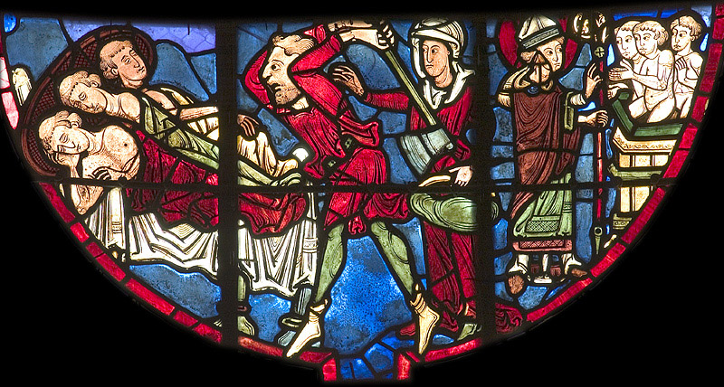 Stained glass image of an inkeeper attacking the sleeping boys and Saint Nicholas reviving them