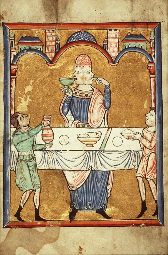 Psalter page with Janus feasting