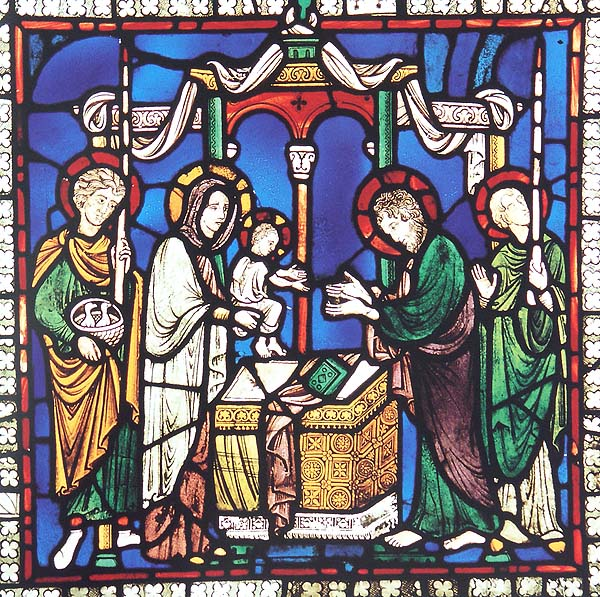 Figure 1. Presentation of Christ in Canterbury Cathedral, stained glass window n. XV, 18