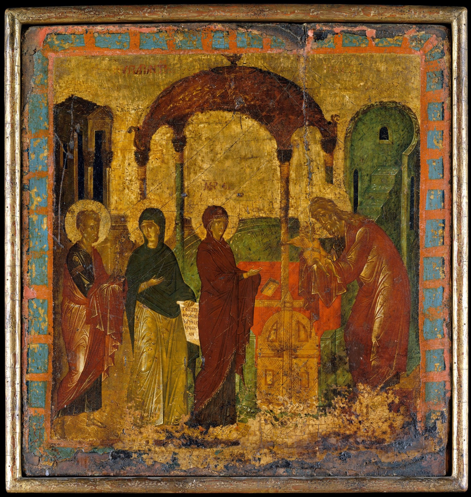 Figure 3. Anna holding inscribed scroll at the Presentation of Christ, wood panel by the 15c. Byzantine Painter. New York, Metropolitan Museum of Art, 31.67.8.