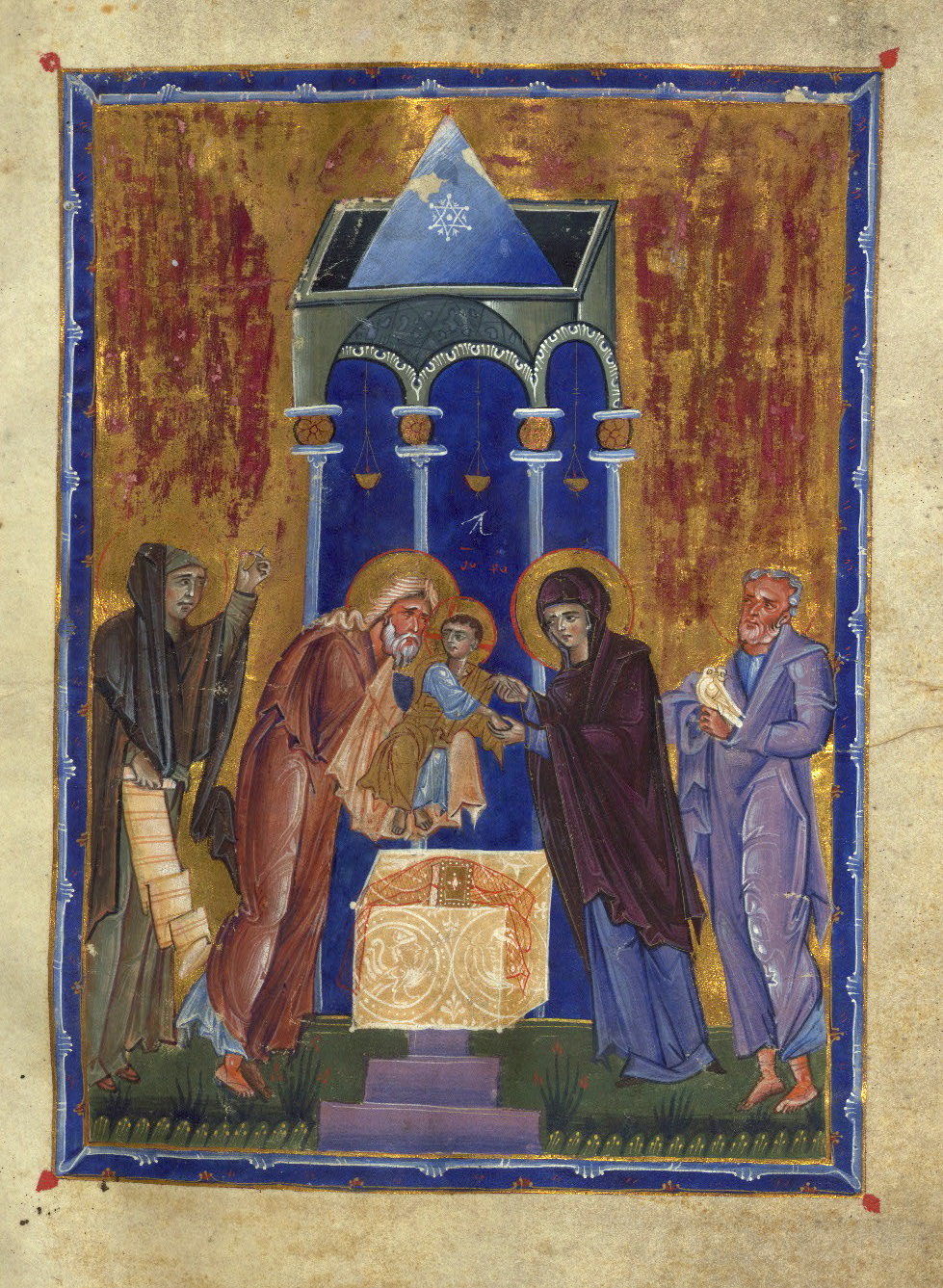 Figure 4. Prophetess Anna holding pseudo-inscribed scroll at the Presentation of Christ in the T'oros Roslin Gospels. Dated 1262. Baltimore, Walters Art Museum, W.539, fol. 211r.