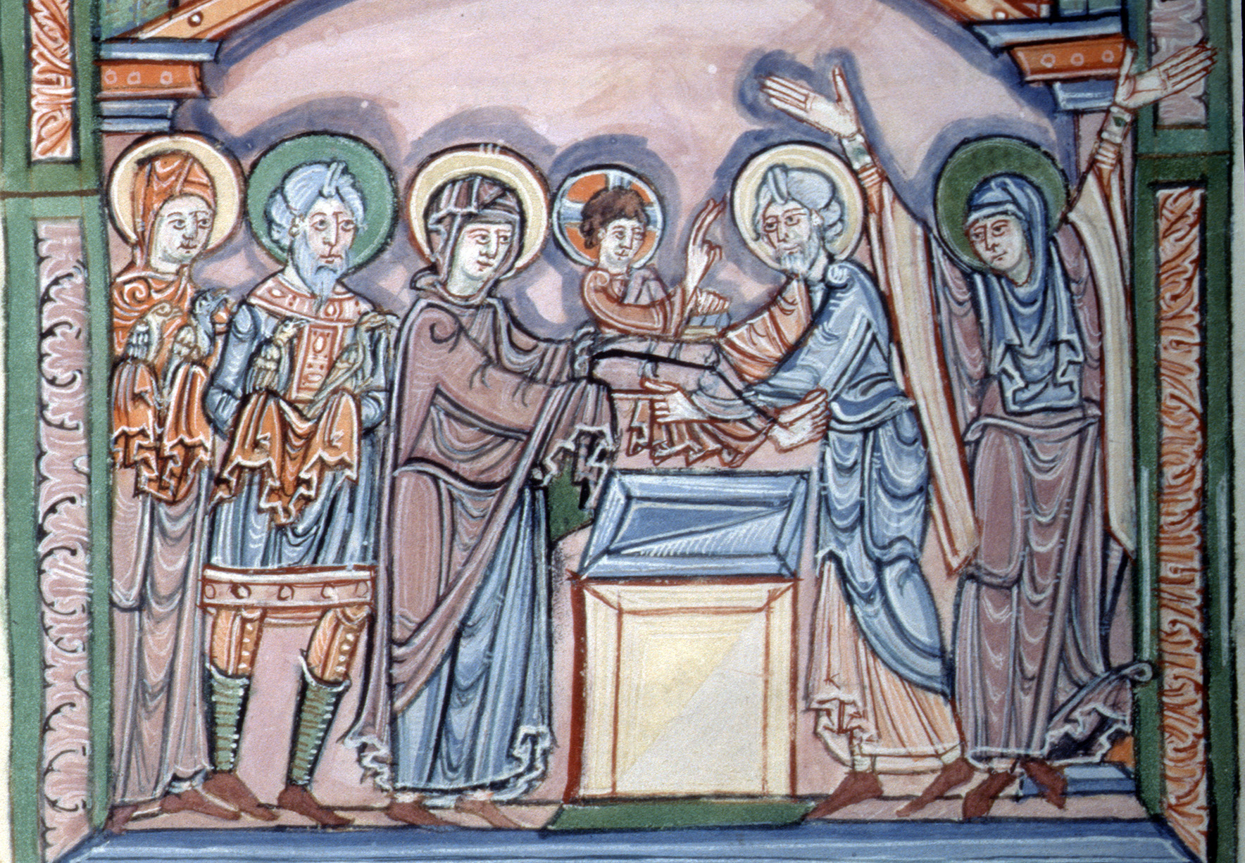 Figure 2. Presentation scene in the Mont-Saint-Michel Sacramentary (Normandy, 1050-1065). New York, Morgan Library, M.641, fol. 18r.
