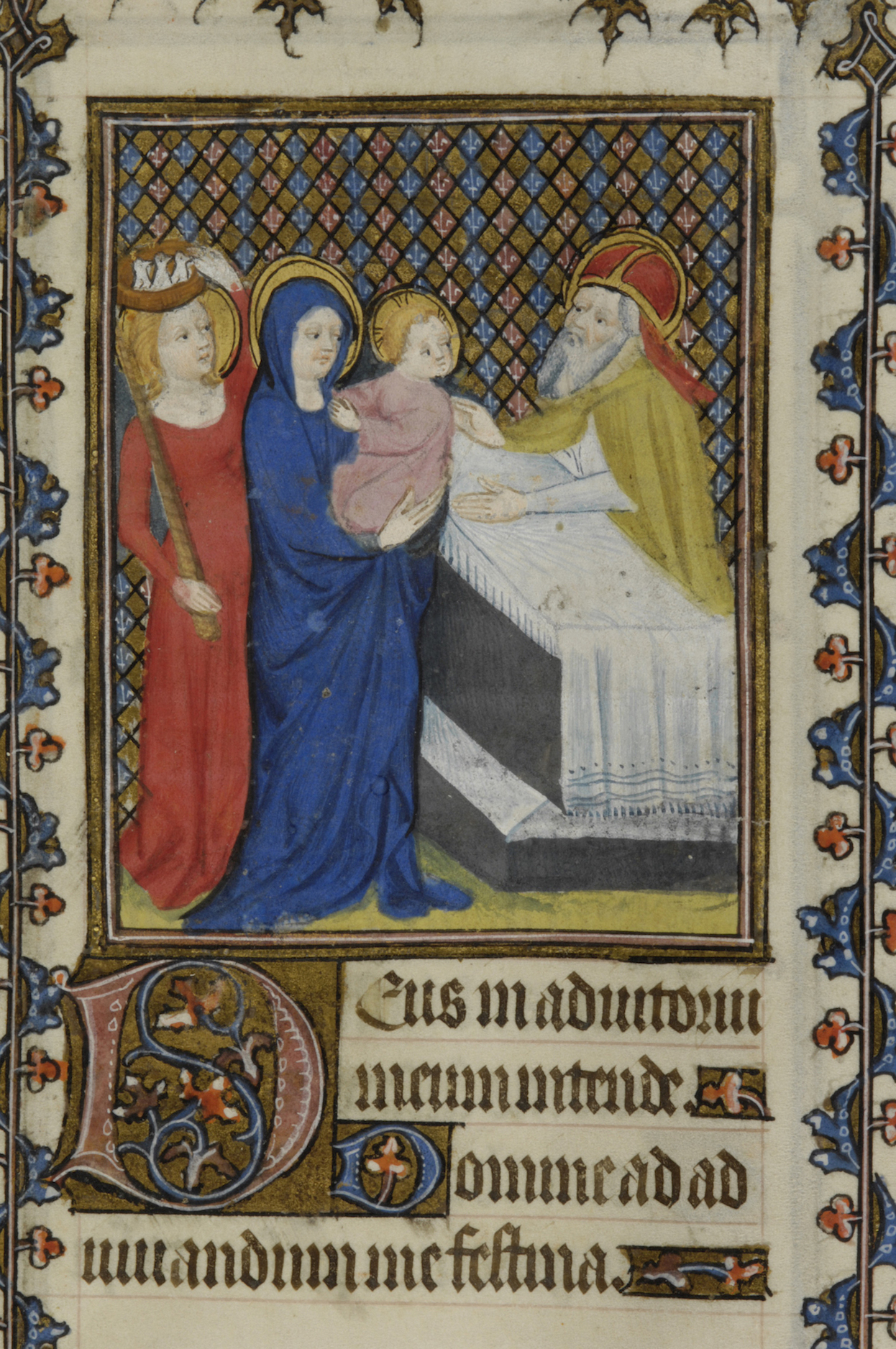 Figure 5. Prophetess Anna balancing basket of three doves on her head and holding candle at the Presentation of Christ. Book of Hours (ca. 1400). New York, Morgan Library S.9, fol. 79r.