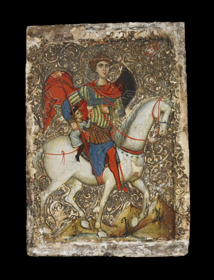 Mounted Saint George with a rescued boy