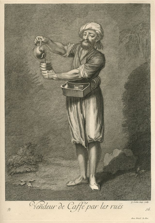 Intaglio print of a coffee vender