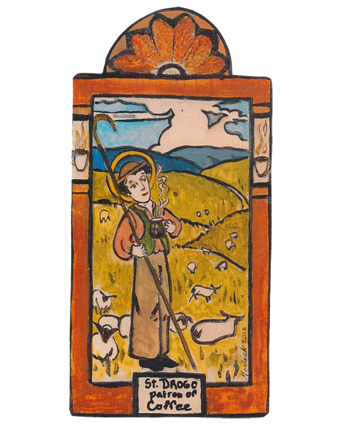 Modern retablo of St. Drogo with a coffee cup
