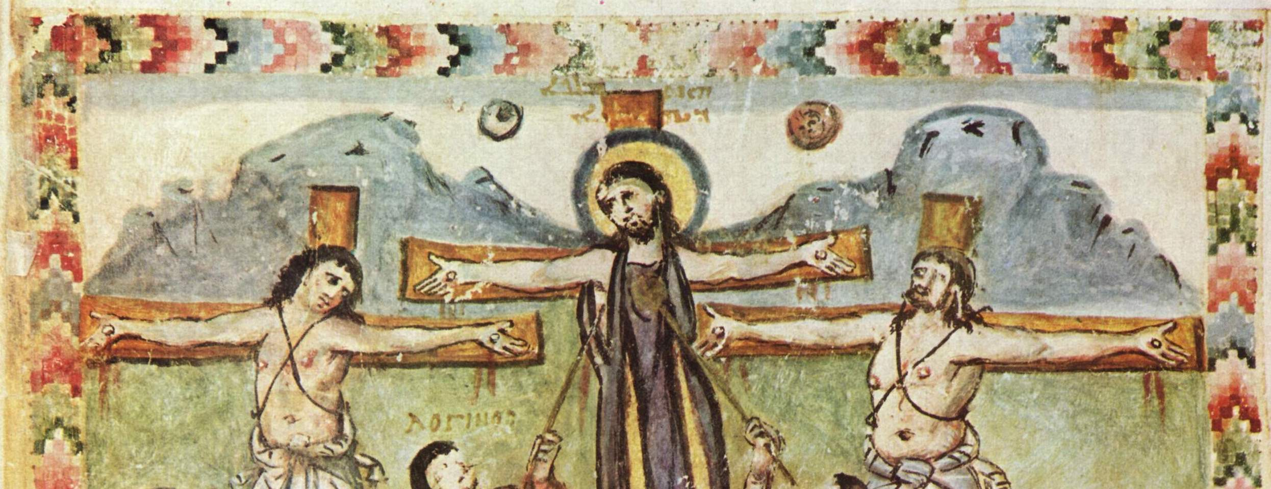 Figure 1. Detail of the Crucifixion. Rabbula Gospels. Florence, Biblioteca Medicea-Laurenziana, cod. Plut. I, 56, fol. 13r (Photo. Wikimedia Commons).