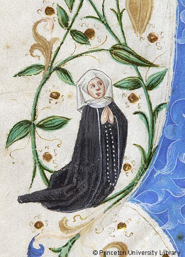 Female donor in the margin of a 15th century Missal (Princeton University Library, Kane 44, no. 1).