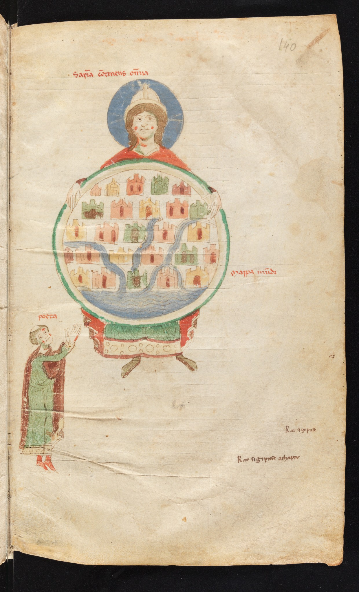 Personification of Wisdom holding a world map