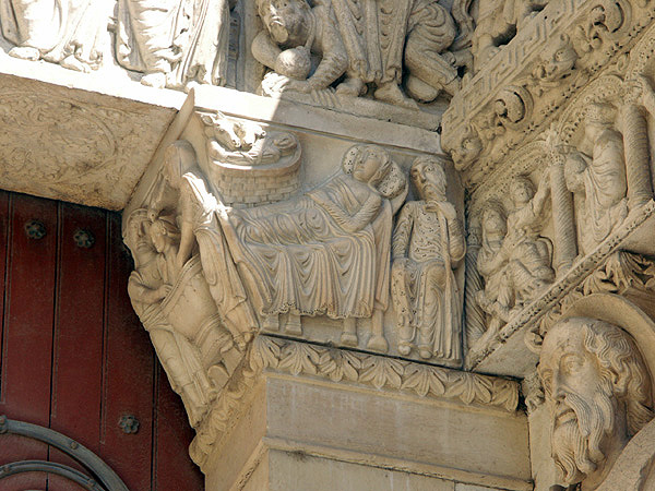 Nativity, Jamb capital in portal of west façade. Saint-Trophime, Arles. 1160-1180.