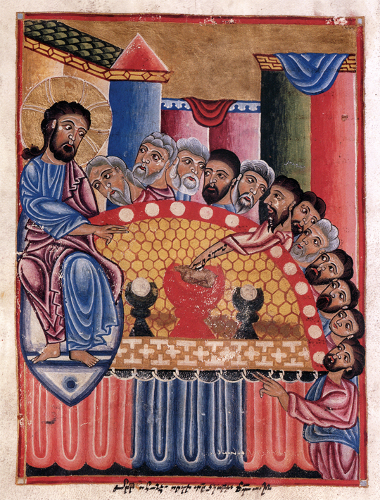 Last Supper of Christ, miniature from the ca 1300 Gladzor Gospels (Los Angeles, Charles E. Young Research Library, Armenian 1, p. 156)